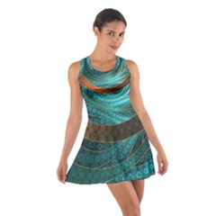 Beautiful Leather & Blue Turquoise Fractal Jewelry Cotton Racerback Dress