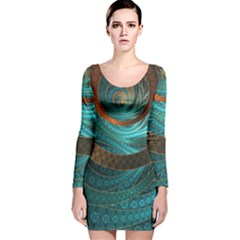 Beautiful Leather & Blue Turquoise Fractal Jewelry Long Sleeve Velvet Bodycon Dress