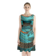 Beautiful Leather & Blue Turquoise Fractal Jewelry Sleeveless Waist Tie Chiffon Dress