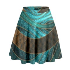 Beautiful Leather & Blue Turquoise Fractal Jewelry High Waist Skirt