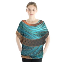 Beautiful Leather & Blue Turquoise Fractal Jewelry Blouse