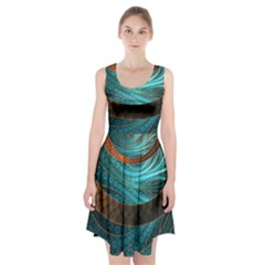 Beautiful Leather & Blue Turquoise Fractal Jewelry Racerback Midi Dress