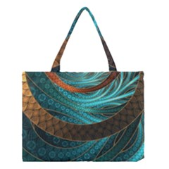 Beautiful Leather & Blue Turquoise Fractal Jewelry Medium Tote Bag