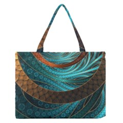 Beautiful Leather & Blue Turquoise Fractal Jewelry Zipper Medium Tote Bag