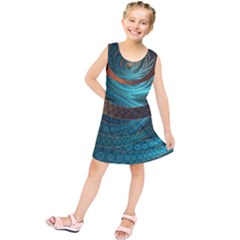 Beautiful Leather & Blue Turquoise Fractal Jewelry Kids  Tunic Dress