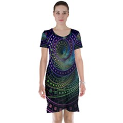 Oz The Great With Technicolor Fractal Rainbow Short Sleeve Nightdress