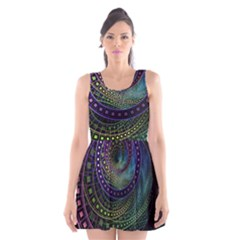 Oz The Great With Technicolor Fractal Rainbow Scoop Neck Skater Dress