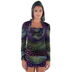 Oz The Great With Technicolor Fractal Rainbow Long Sleeve Hooded T Shirt