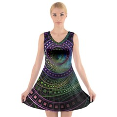 Oz The Great With Technicolor Fractal Rainbow V Neck Sleeveless Skater Dress