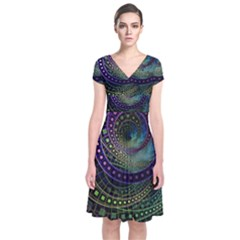 Oz The Great With Technicolor Fractal Rainbow Short Sleeve Front Wrap Dress