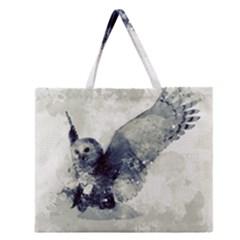 Cute Owl In Watercolor Zipper Large Tote Bag
