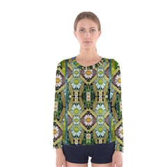 Bread Sticks And Fantasy Flowers In A Rainbow Women s Long Sleeve Tee