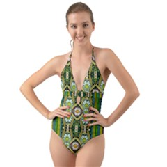 Bread Sticks And Fantasy Flowers In A Rainbow Halter Cut Out One Piece Swimsuit