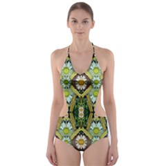 Bread Sticks And Fantasy Flowers In A Rainbow Cut Out One Piece Swimsuit