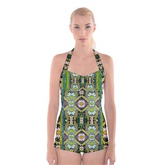 Bread Sticks And Fantasy Flowers In A Rainbow Boyleg Halter Swimsuit