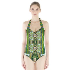 Bread Sticks And Fantasy Flowers In A Rainbow Halter Swimsuit