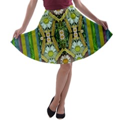 Bread Sticks And Fantasy Flowers In A Rainbow A Line Skater Skirt