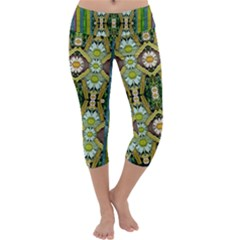 Bread Sticks And Fantasy Flowers In A Rainbow Capri Yoga Leggings