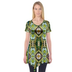 Bread Sticks And Fantasy Flowers In A Rainbow Short Sleeve Tunic
