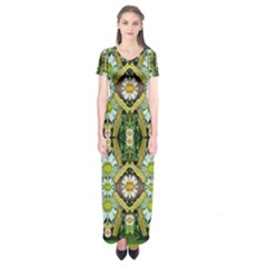 Bread Sticks And Fantasy Flowers In A Rainbow Short Sleeve Maxi Dress