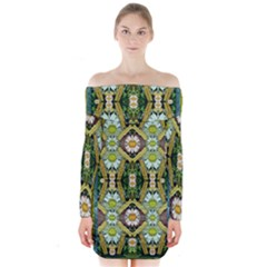 Bread Sticks And Fantasy Flowers In A Rainbow Long Sleeve Off Shoulder Dress