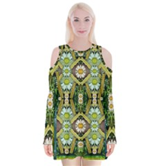 Bread Sticks And Fantasy Flowers In A Rainbow Velvet Long Sleeve Shoulder Cutout Dress