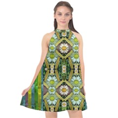 Bread Sticks And Fantasy Flowers In A Rainbow Halter Neckline Chiffon Dress