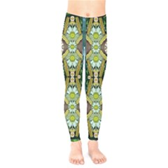 Bread Sticks And Fantasy Flowers In A Rainbow Kids  Legging
