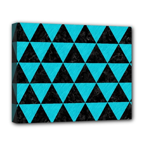 Triangle3 Black Marble & Turquoise Colored Pencil Deluxe Canvas 20  X 16