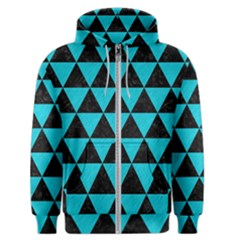 Triangle3 Black Marble & Turquoise Colored Pencil Men s Zipper Hoodie