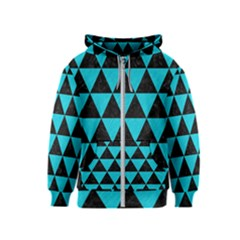 Triangle3 Black Marble & Turquoise Colored Pencil Kids  Zipper Hoodie