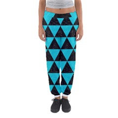 Triangle3 Black Marble & Turquoise Colored Pencil Women s Jogger Sweatpants