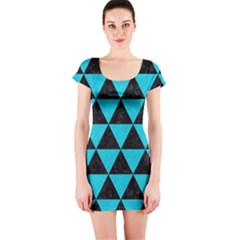 Triangle3 Black Marble & Turquoise Colored Pencil Short Sleeve Bodycon Dress
