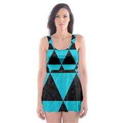 Triangle3 Black Marble & Turquoise Colored Pencil Skater Dress Swimsuit