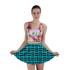 Woven1 Black Marble & Turquoise Colored Pencil Mini Skirt