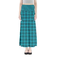 Woven1 Black Marble & Turquoise Colored Pencil Full Length Maxi Skirt