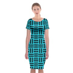 Woven1 Black Marble & Turquoise Colored Pencil Classic Short Sleeve Midi Dress