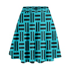 Woven1 Black Marble & Turquoise Colored Pencil High Waist Skirt