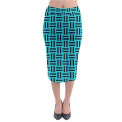 Woven1 Black Marble & Turquoise Colored Pencil Midi Pencil Skirt