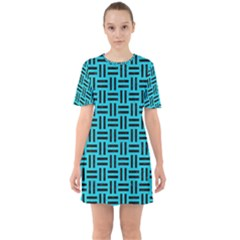Woven1 Black Marble & Turquoise Colored Pencil Sixties Short Sleeve Mini Dress