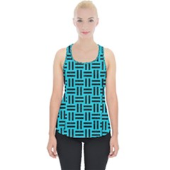 Woven1 Black Marble & Turquoise Colored Pencil Piece Up Tank Top