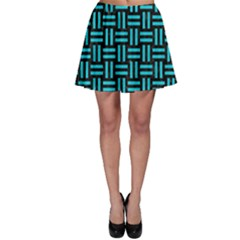 Woven1 Black Marble & Turquoise Colored Pencil (r) Skater Skirt