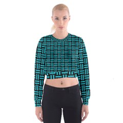 Woven1 Black Marble & Turquoise Colored Pencil (r) Cropped Sweatshirt
