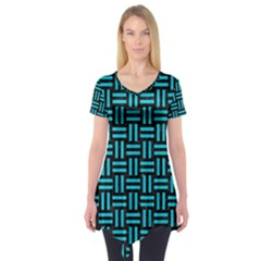 Woven1 Black Marble & Turquoise Colored Pencil (r) Short Sleeve Tunic