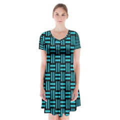 Woven1 Black Marble & Turquoise Colored Pencil (r) Short Sleeve V Neck Flare Dress