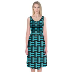 Woven1 Black Marble & Turquoise Colored Pencil (r) Midi Sleeveless Dress