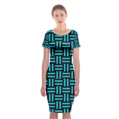 Woven1 Black Marble & Turquoise Colored Pencil (r) Classic Short Sleeve Midi Dress