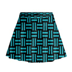 Woven1 Black Marble & Turquoise Colored Pencil (r) Mini Flare Skirt