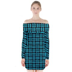 Woven1 Black Marble & Turquoise Colored Pencil (r) Long Sleeve Off Shoulder Dress