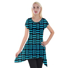 Woven1 Black Marble & Turquoise Colored Pencil (r) Short Sleeve Side Drop Tunic